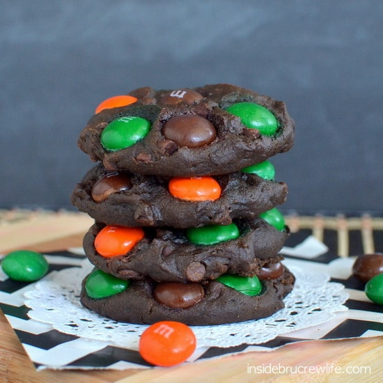 Chocolate and pumpkin come together in one decadent and fudgy cookie for fall parties!