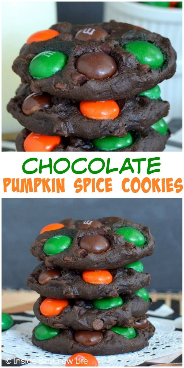 These pumpkin cookies are loaded with 3 kinds of chocolate. They are rich and decadent and perfect for fall!