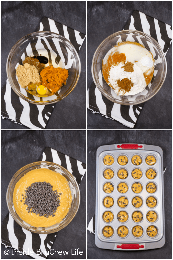 Four pictures collaged together showing the steps to making pumpkin mini muffins.