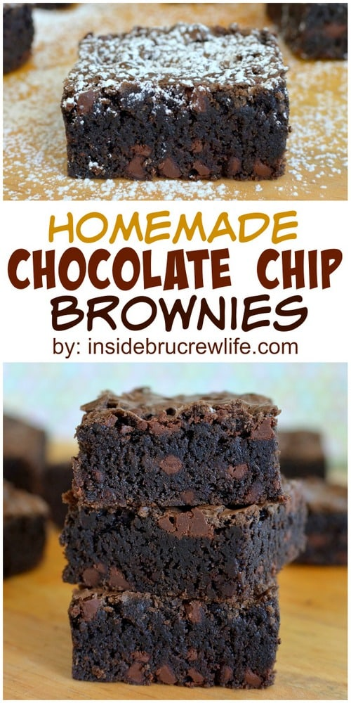 Homemade Chocolate Chip Brownies - adding chocolate chips to these fudgy brownies is a very good idea. Make this easy recipe any time you need a quick and easy dessert! #brownies #homemade #recipe #chocolate