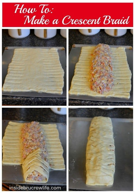 Meat Lover's Crescent Braid - how to braid crescent rolls with 4 kinds of meat combined with 3 cheeses...best after school snack idea  http://www.insidebrucrewlife.com