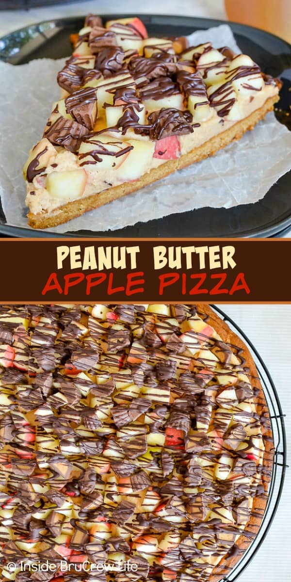 Peanut Butter Apple Pizza - creamy peanut butter, apples, and peanut butter cups on a giant peanut butter cookie makes a delicious dessert. Make this easy recipe for parties this fall! #peanutbutter #apple #cookiepizza #fall #cookie #peanutbuttercups