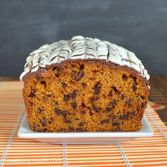 Adding chocolate chips and a chocolate topping gives this pumpkin bread a fun twist!