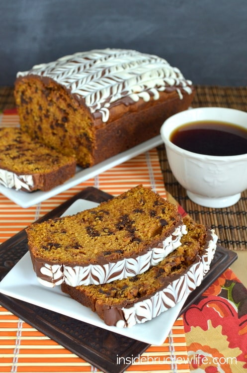 This pumpkin bread is full of chocolate chips and has a fun swirled chocolate topping.