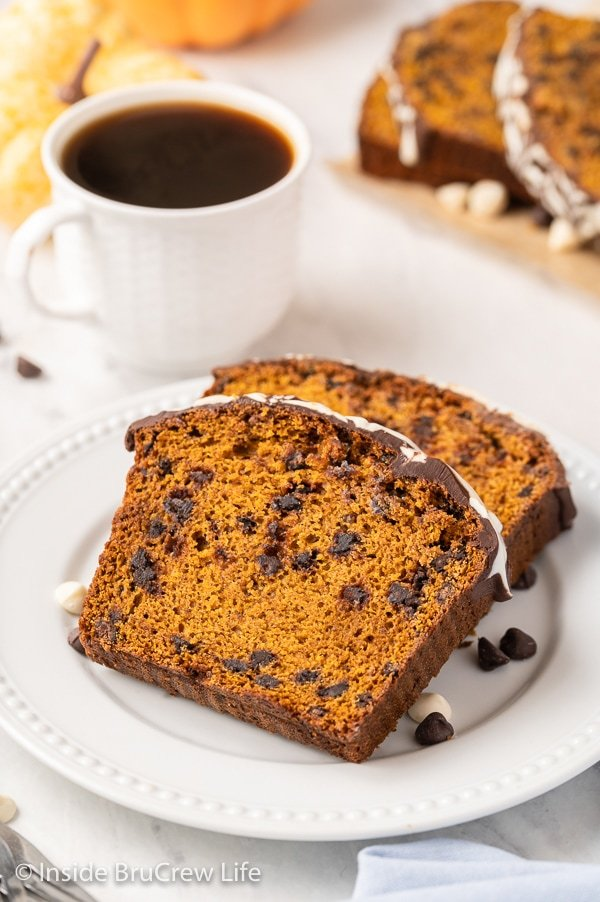 A white plate with two slices of chocolate chip pumpkin bread on it.