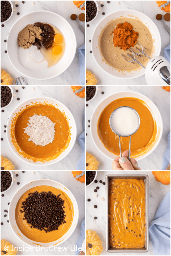 Six pictures collaged together showing the steps to make a loaf of pumpkin bread with chocolate chips.