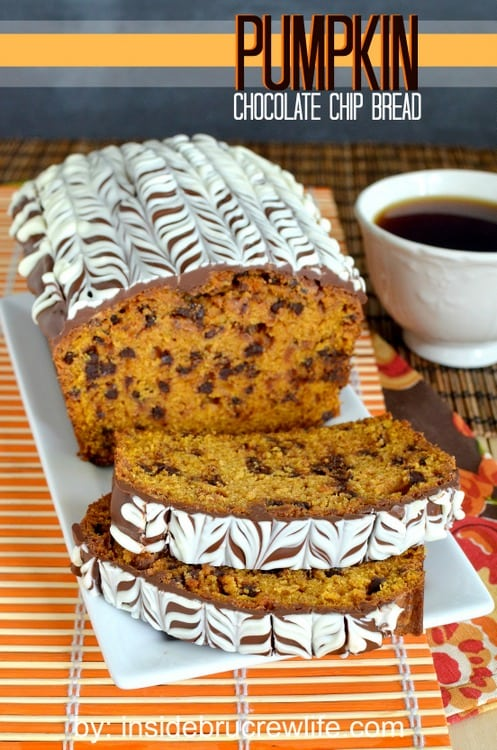 Pumpkin Chocolate Chip Bread - pumpkin bread with chocolate chips and chocolate glaze is definitely the way to go  http://www.insidebrucrewlife.com
