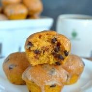 Glazed Chocolate Chip Pumpkin Muffins