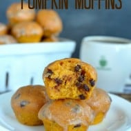 Glazed Chocolate Chip Pumpkin Muffins