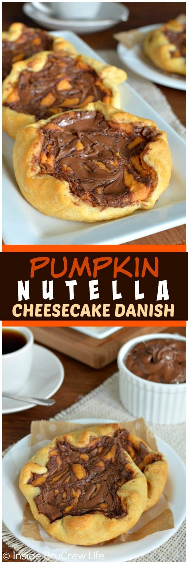 Pumpkin Nutella Cheesecake Danish - swirls of chocolate and cheesecake create a fun fall breakfast. Great recipe for enjoying with coffee!