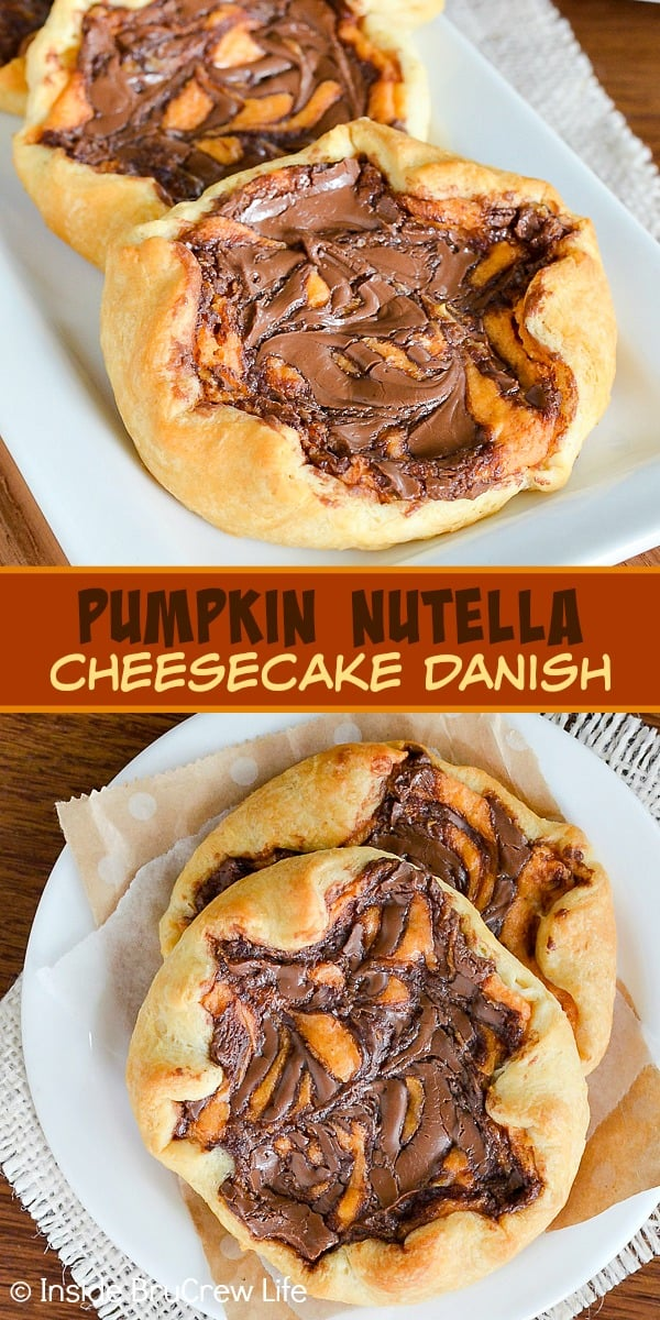 Pumpkin Nutella Cheesecake Danish - swirls of Nutella and pumpkin cheesecake make these a fun cream cheese pastry. Try this easy danish recipe for breakfast or dessert this fall.