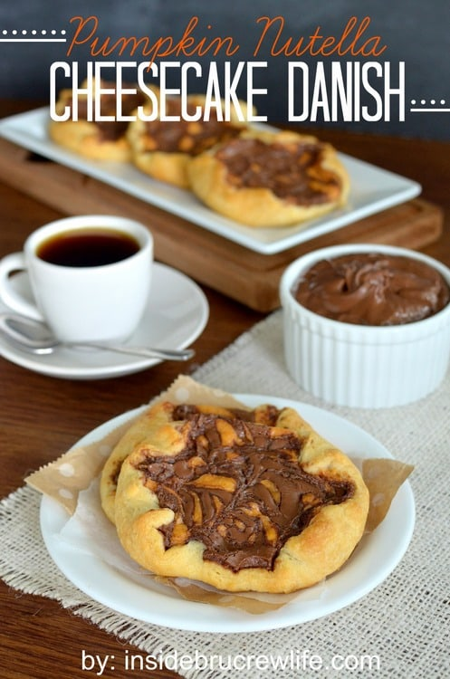 Swirls of cheesecake & chocolate make this Pumpkin Nutella Cheesecake Danish a fun fall breakfast recipe.