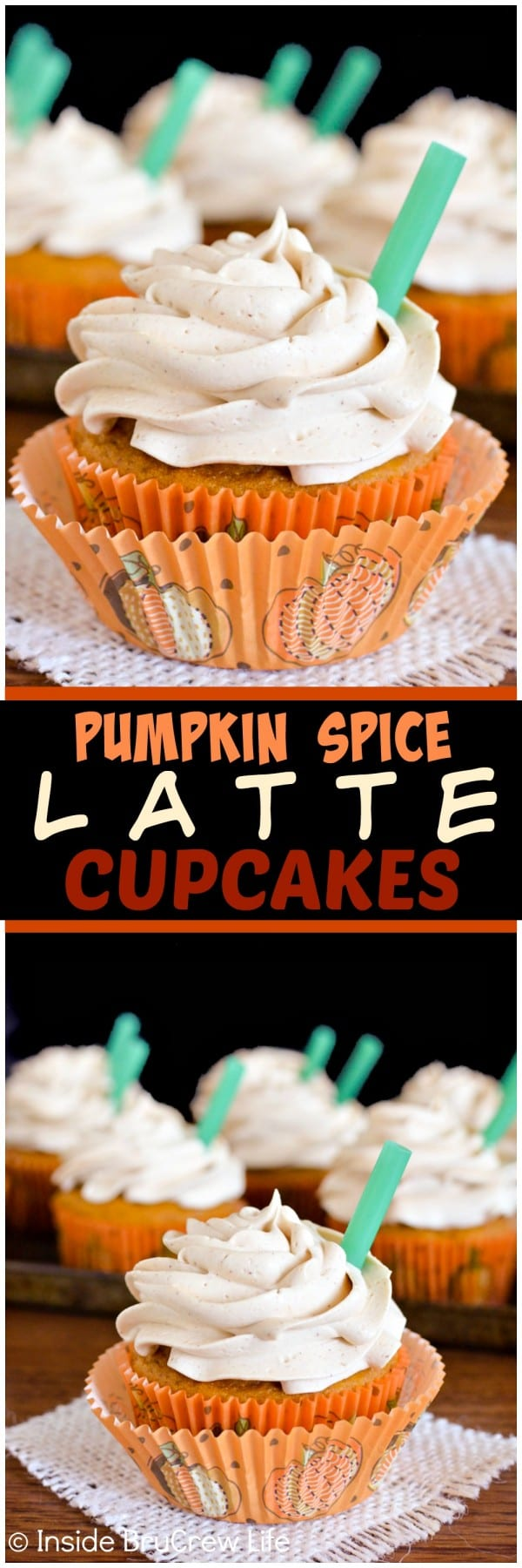 Pumpkin Spice Latte Cupcakes - a creamy white chocolate frosting makes these cupcakes taste amazing. Great copycat recipe of the popular fall drink!