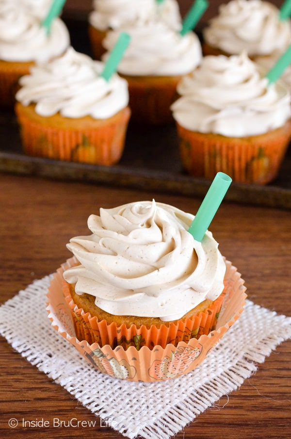 Coffee and white chocolate make these Pumpkin Spice Latte Cupcakes a fun copycat of the popular fall drink. Great dessert recipe!