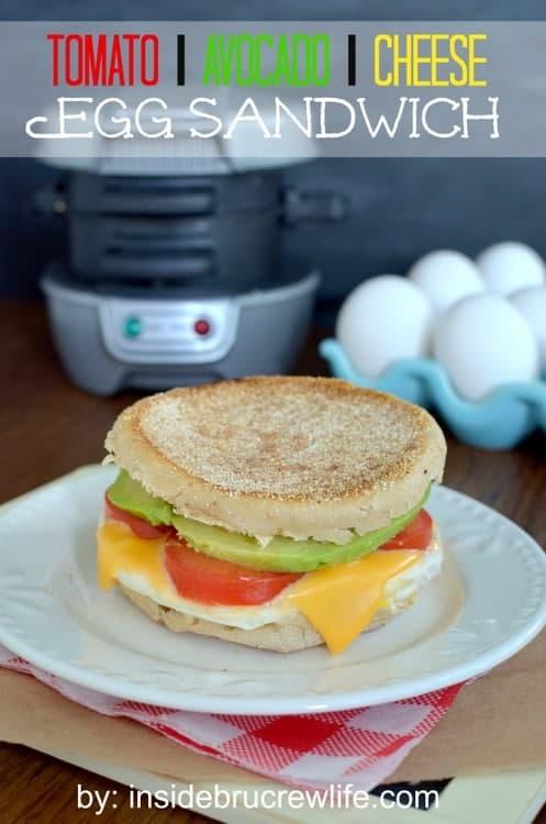 Tomato Avocado Egg Sandwich - the traditional egg sandwich gets a twist from tomato, avocado, and cheese  http://www.insidebrucrewlife.com