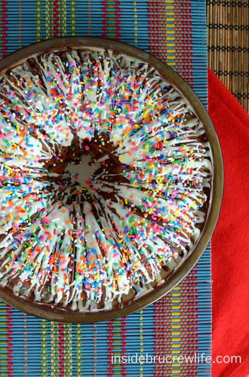 This white chocolate cake is full of fun colored sprinkles and mini chocolate chips. Everyone smiles when they see it!