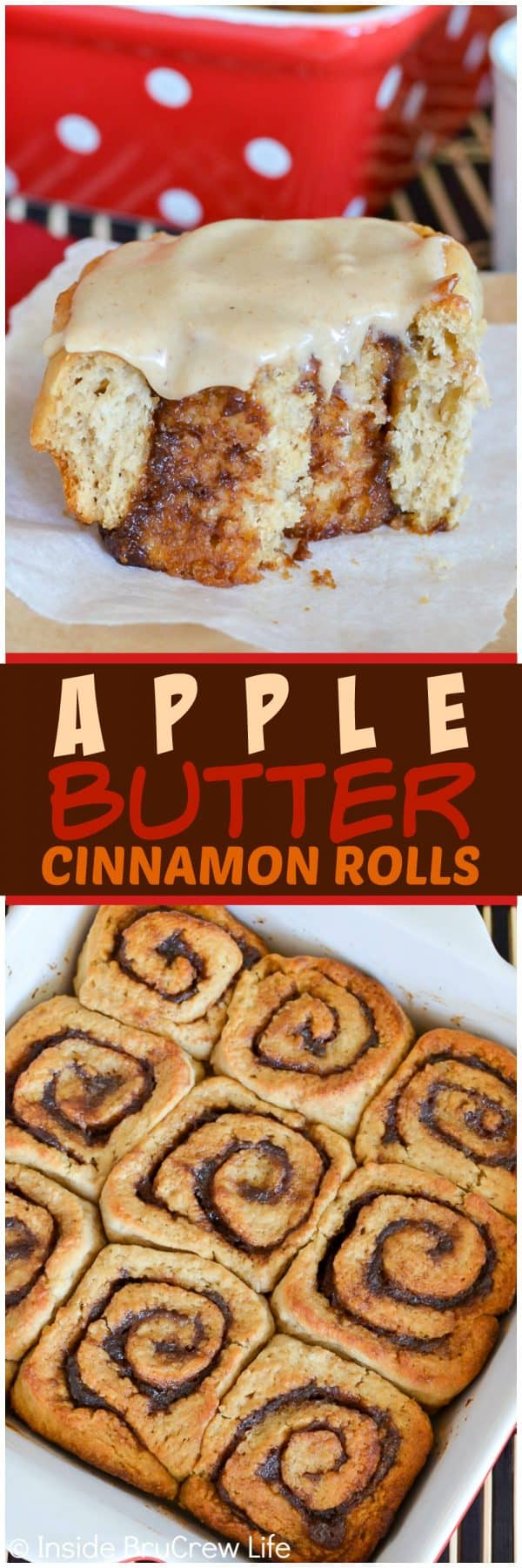 Apple Butter Cinnamon Rolls - three times the apple butter love makes these soft and fluffy rolls a delicious breakfast choice. Easy recipe for fall mornings.