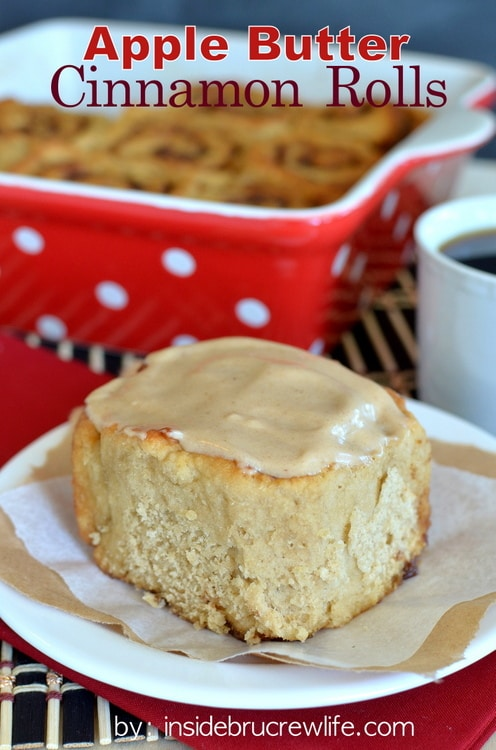 Apple Butter Cinnamon Rolls - easy no yeast cinnamon rolls filled with an apple butter sugar mixture and topped with an apple butter glaze