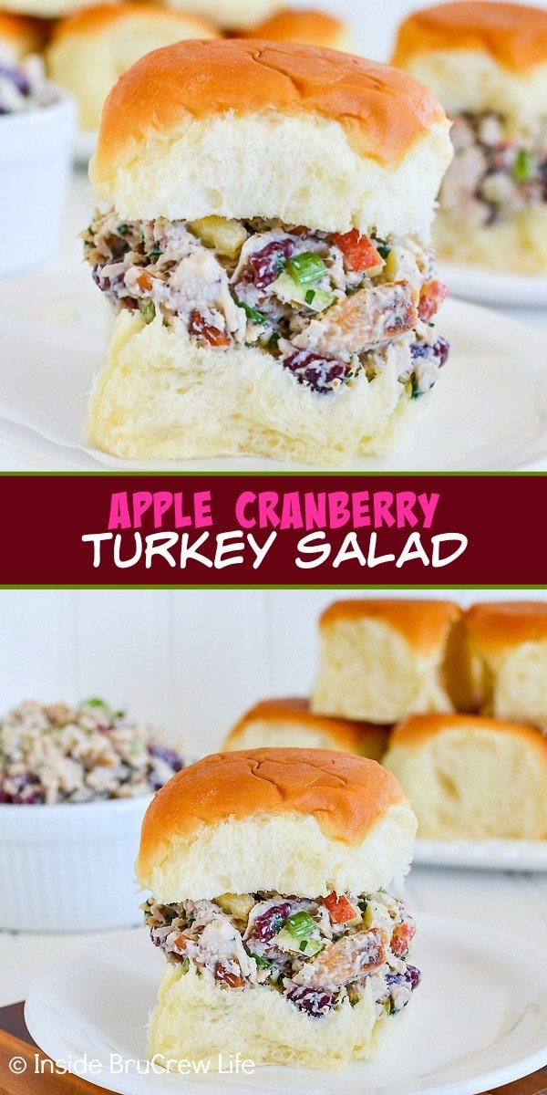 Two pictures of Apple Cranberry Turkey Salad collaged together with a burgundy text box