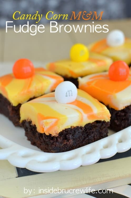 Candy Corn M and M Fudge Brownies - brownies with a white chocolate candy corn colored fudge and M and M's www.insidebrucrewlife.com