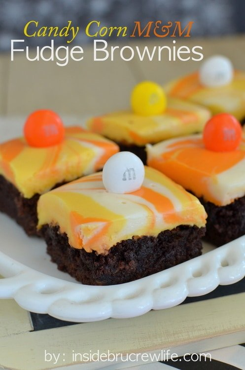 Candy Corn M&M Fudge Brownies