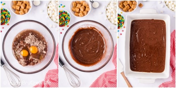 Three pictures collaged together showing how to make brownies.