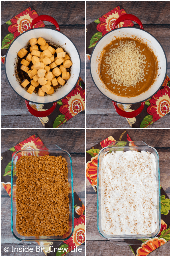Four pictures collaged together showing how to make fall krispie treats.