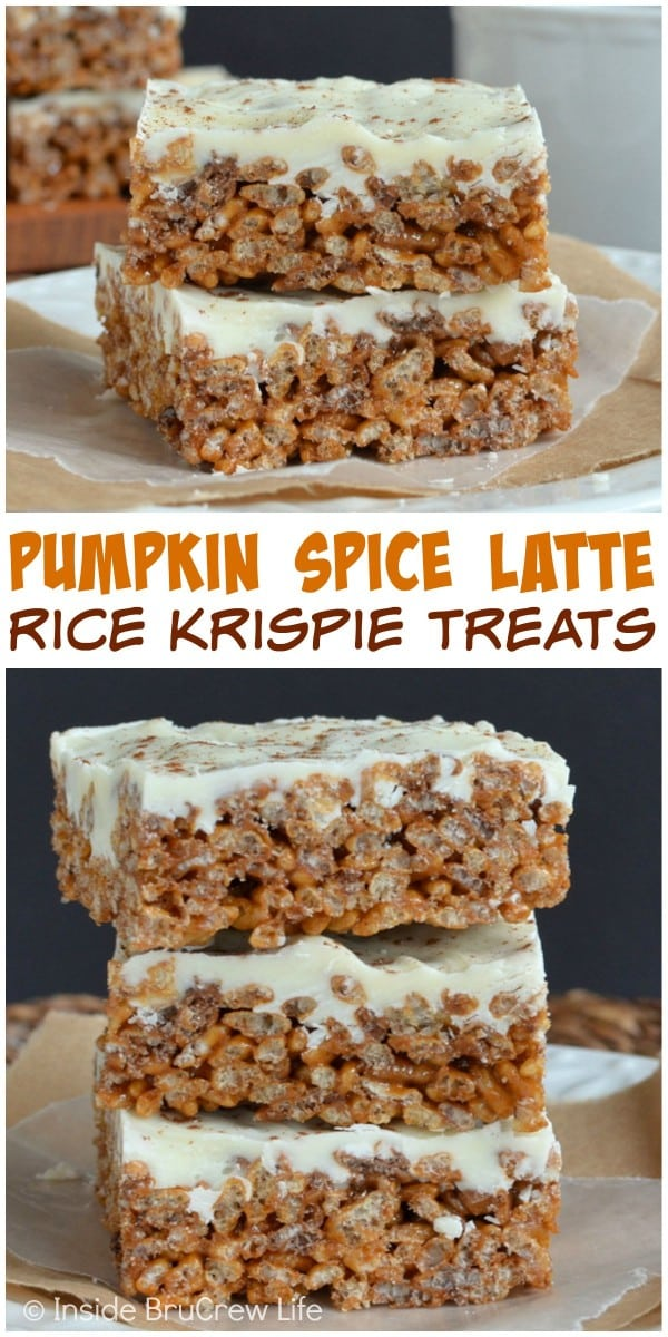 Rice Krispie Treats with a pumpkin spice and coffee twist is a fun ...