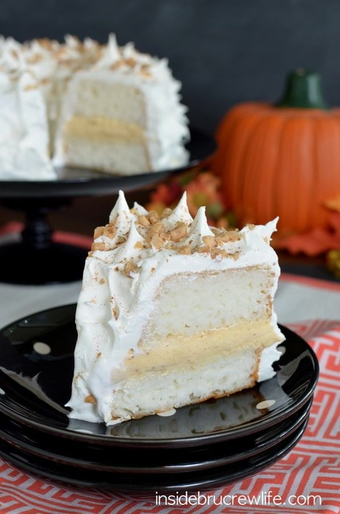 Pumpkin Toffee Angel Food Cake - this easy layer cake will impress everyone at dinner. Easy recipe to put together in minutes!