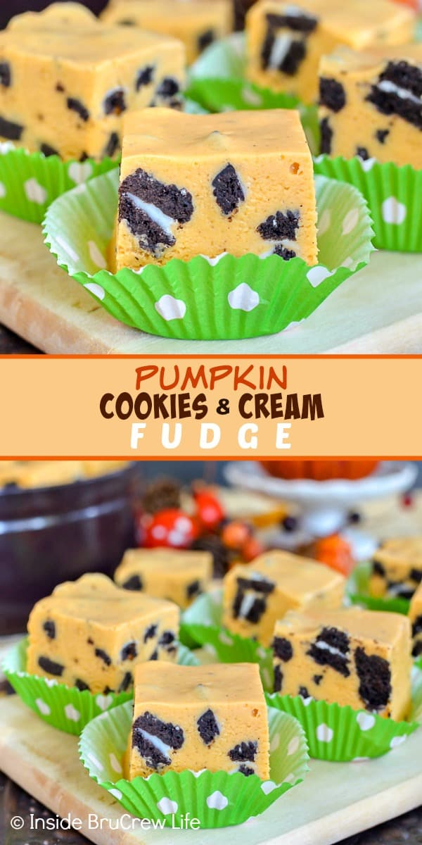 Pumpkin Cookies and Cream Fudge - this cookies and cream fudge gets a fun twist from the pumpkin flavor. Easy recipe to make for Thanksgiving. #fudge #nobake #pumpkin #cookiesandcream #thanksgiving