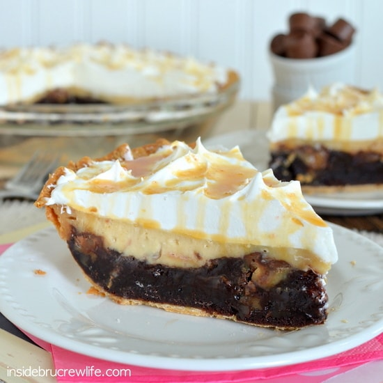 Layers of salted caramel cheesecake and brownie make this pie an amazing dessert!