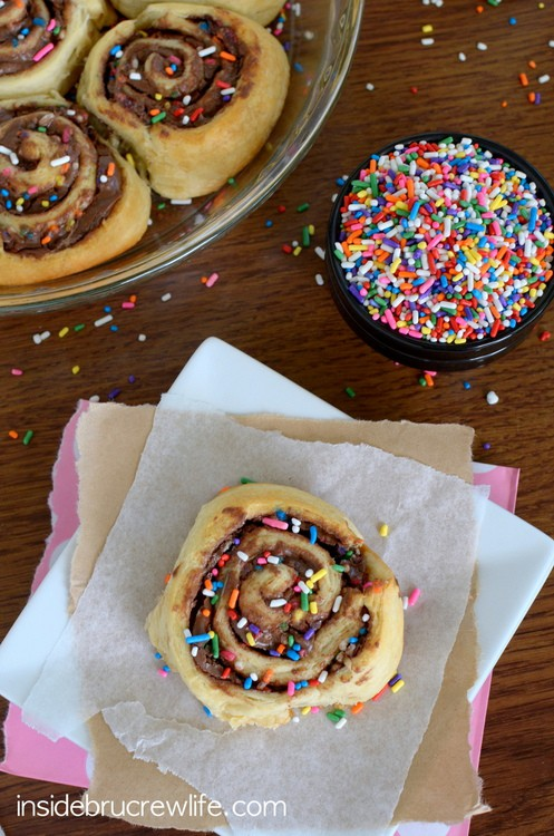 Sprinkle Nutella Rolls - sprinkles, Nutella, and crescent rolls make these perfect for any time snacking  www.insidebrucrewlife.com