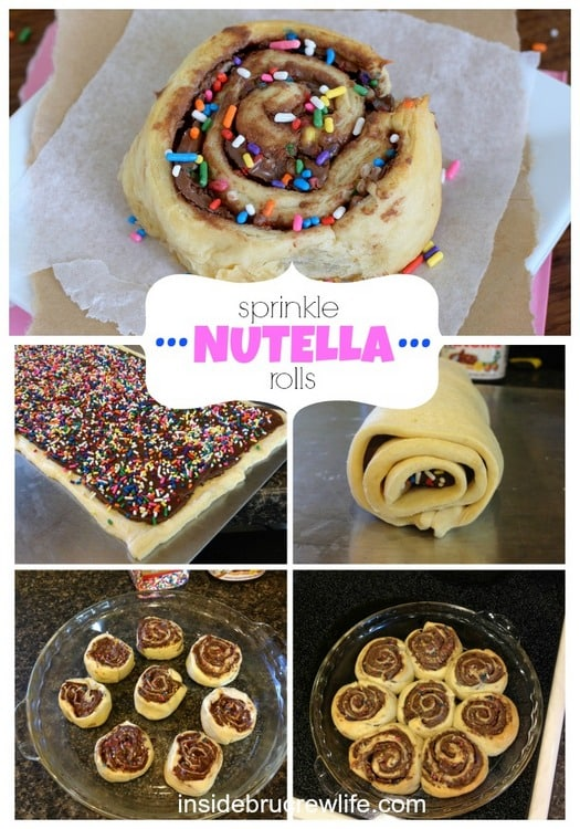 Sprinkle Nutella Rolls - sprinkles, Nutella, and crescent rolls make these perfect for any time snacking