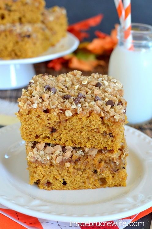 Adding brown butter and crunchy streusel makes this pumpkin coffee cake so good!