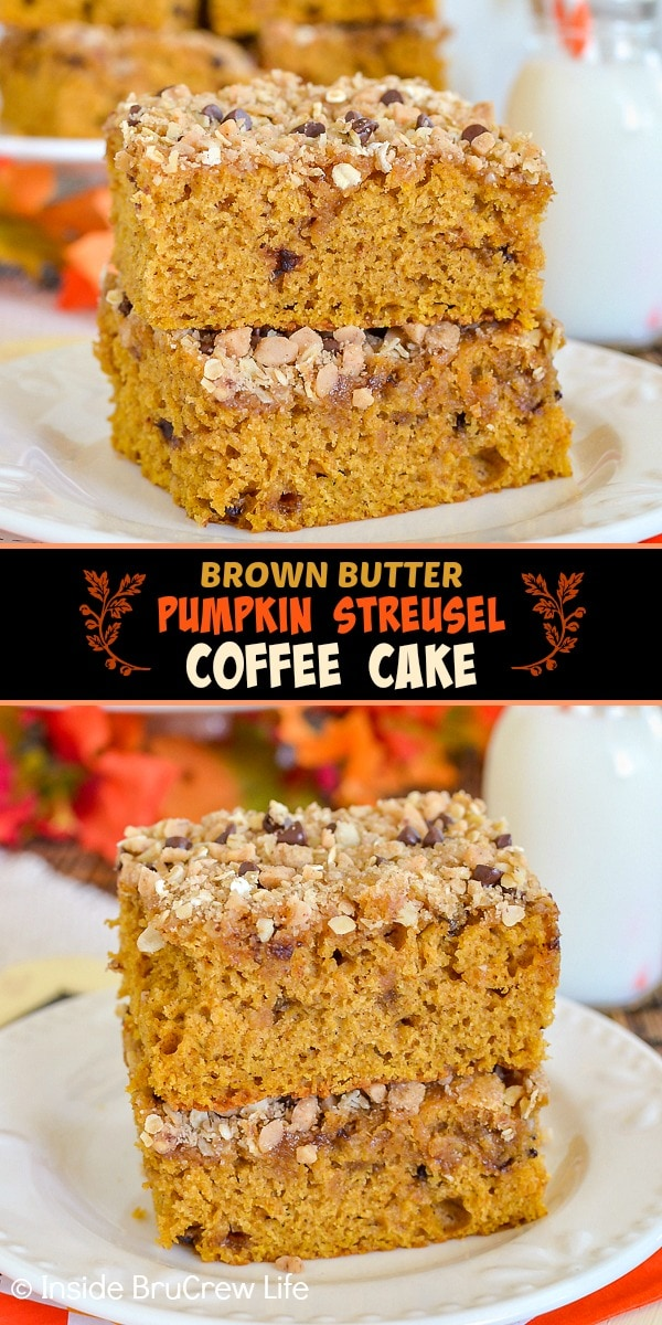 Two pictures of Brown Butter Pumpkin Streusel Coffee Cake collaged together with a black text box