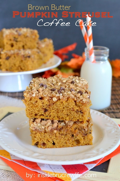Pumpkin and streusel added to coffee cake is a delicious fall coffee cake.