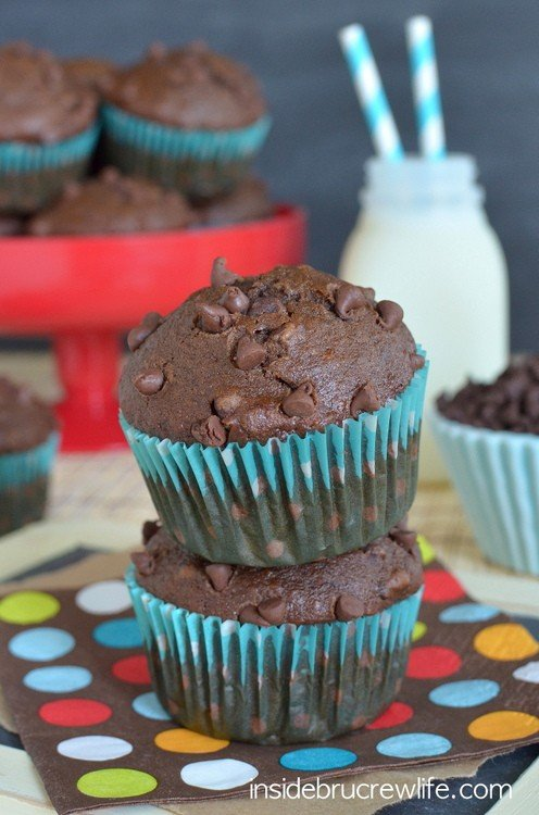Double Chocolate Banana Muffins - double the chocolate in these banana muffins makes these a happy way to start the day  www.insidebrucrewlife.com
