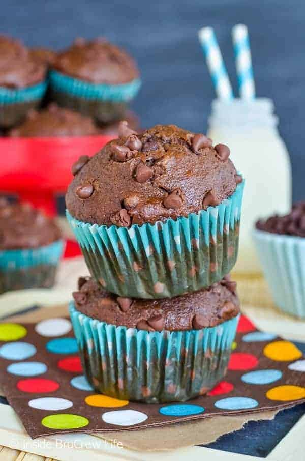 Double Chocolate Banana Muffins - these easy banana muffins are a great way to enjoy two times the chocolate love for breakfast! Try this recipe the next time you have ripe bananas to use up. #muffins #chocolate #bananamuffins #breakfast #muffinsformom #banana