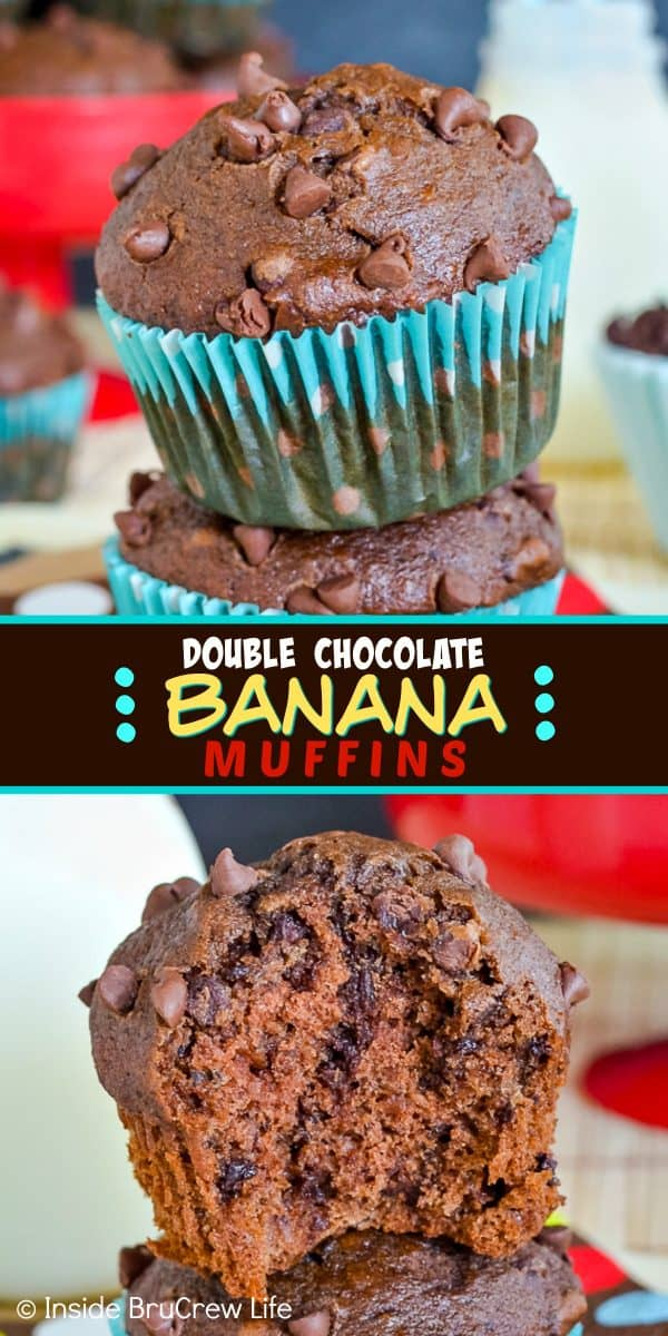 Double Chocolate Banana Muffins - two times the chocolate makes these bakery style banana muffins taste incredible! Make this easy recipe when you have ripe bananas to use up! #muffins #chocolate #bananamuffins #breakfast #muffinsformom #banana