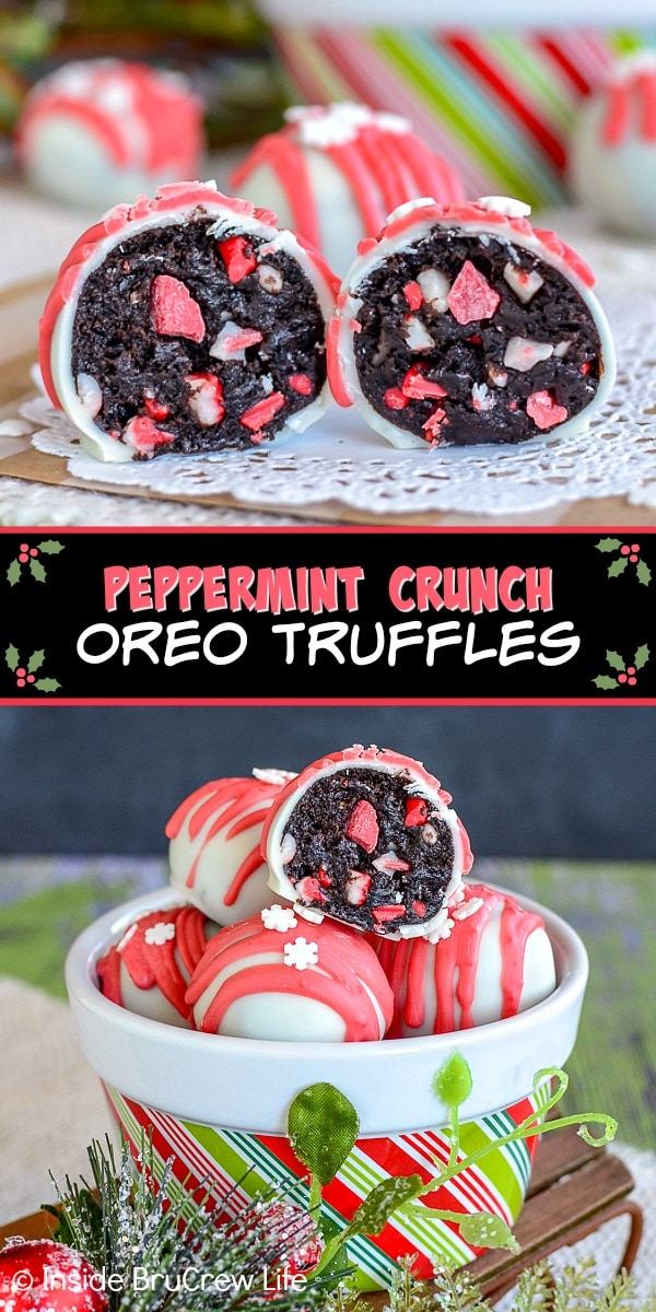 Two pictures of Peppermint Crunch Oreo Truffles collaged together with a black text box