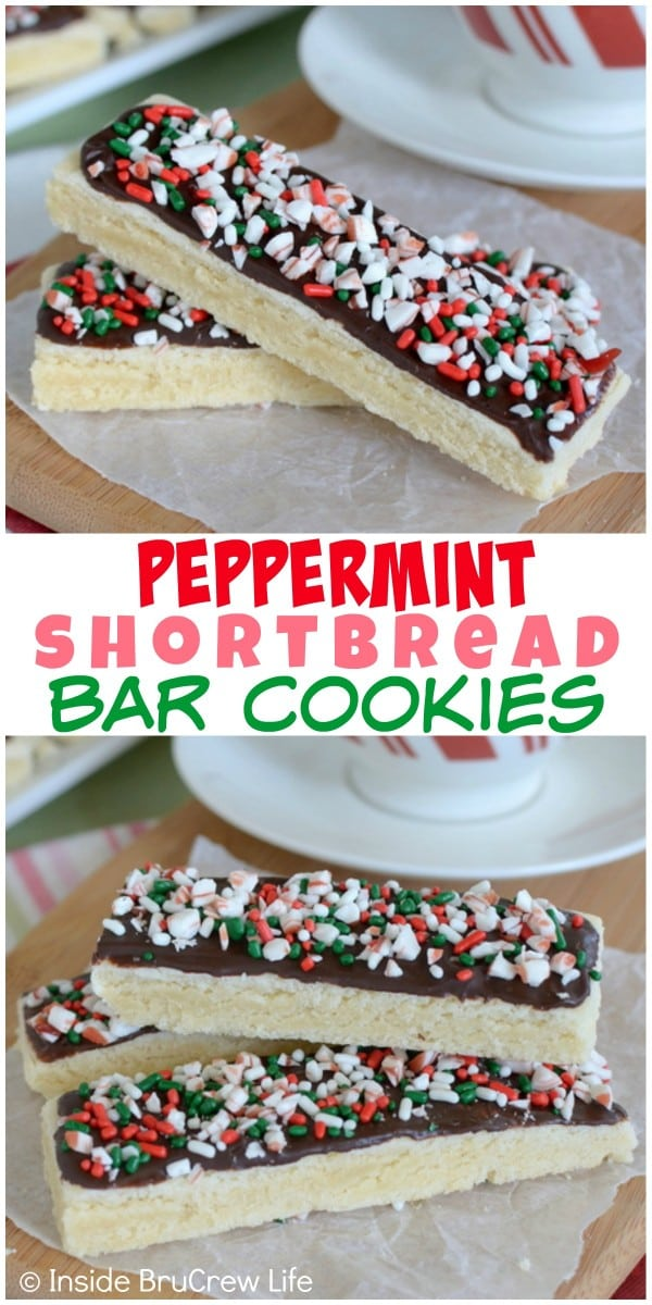 These easy Peppermint Shortbread Bar Cookies are topped with chocolate, sprinkles, and candy cane chunks.  They are a fun dessert to add to holiday cookie trays!