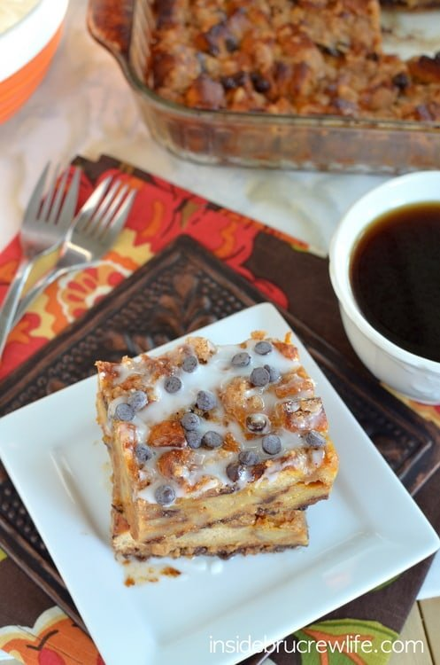Pumpkin Chip French Toast Bake from www.insidebrucrewlife.com - easy french toast casserole with pumpkin and chocolate chips