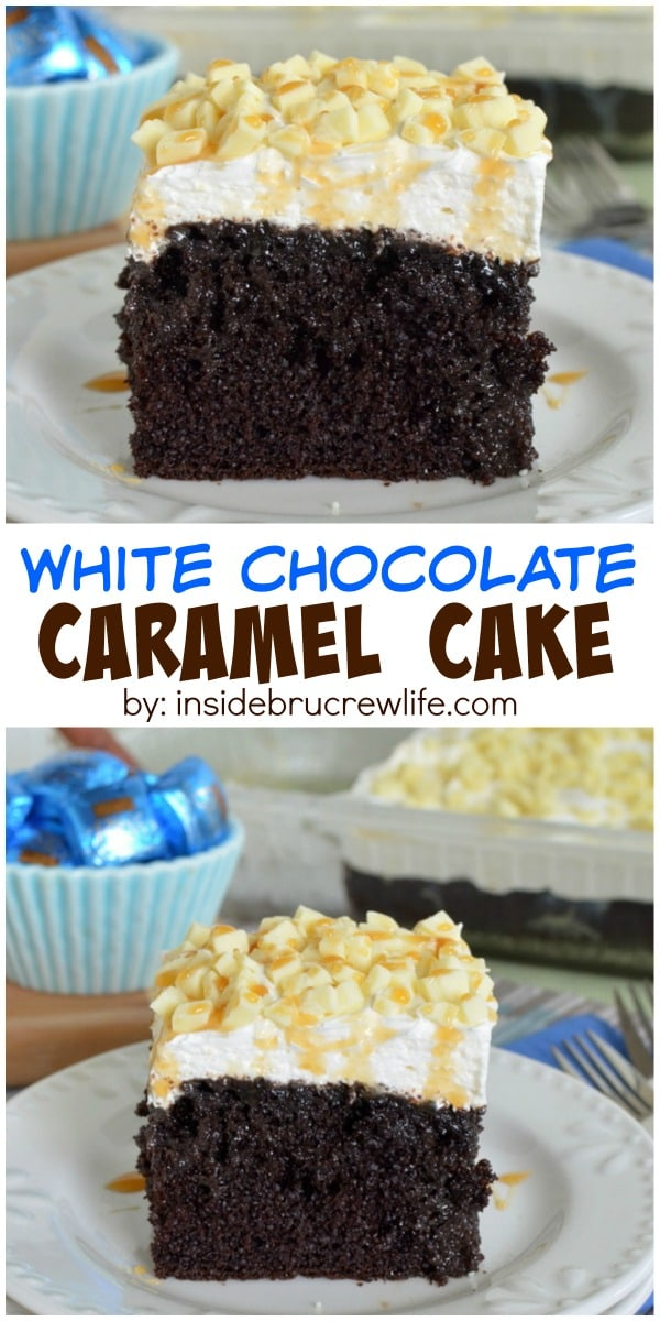 Chocolate, caramel, and candy bars make this cake an amazing dessert!