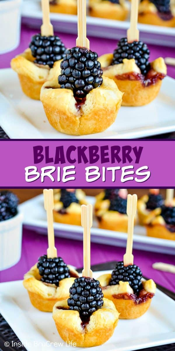 Blackberry Brie Bites - these easy little appetizers have melted cheese and fresh blackberries in them. Make this sweet and savory recipe for parties and events! #appetizer #crescentcups #briecheese #blackberry #gameday #partyfood #fingerfood
