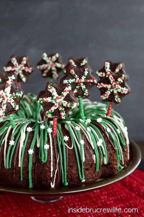 Chocolate and mint makes this cake taste amazing. The fun candy decorations on top make it look fun!