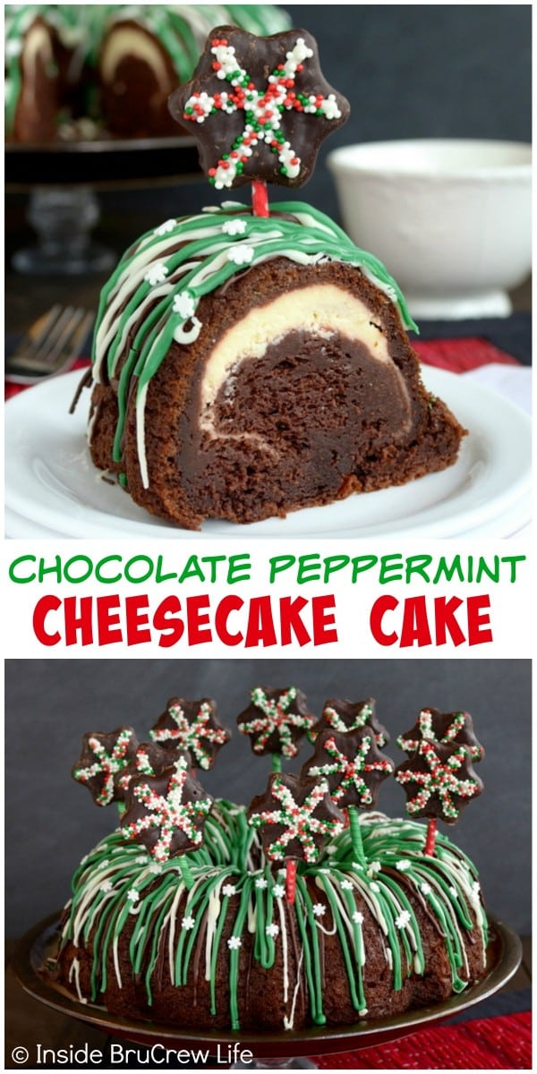 A hidden tunnel of cheesecake in this Chocolate Peppermint Cheesecake Cake is a fun surprise. Add easy candy decorations to make it look fun for parties!