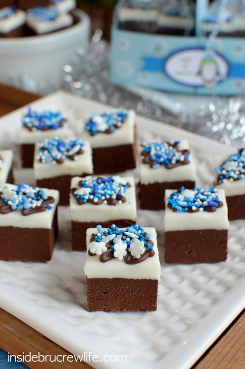 Chocolate Peppermint Fudge from www.insidebrucrewlife.com - easy 3 ingredient chocolate fudge with a homemade peppermint patty topping