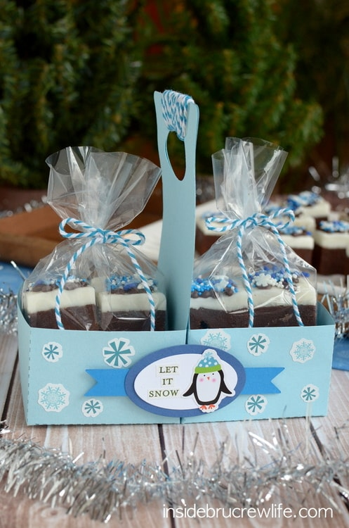 Chocolate Peppermint Fudge in a fun paper treat carrier