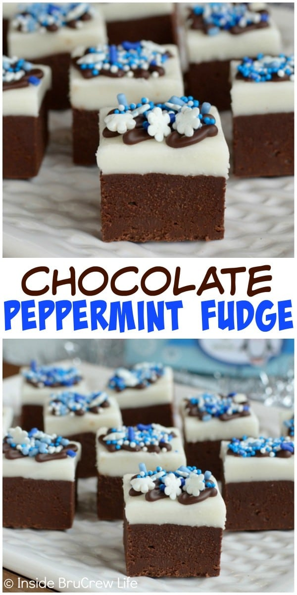This Chocolate Peppermint Fudge has layers of creamy chocolate fudge and homemade peppermint patty filling.