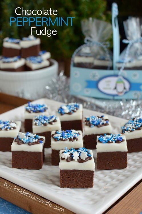 Layers of chocolate and peppermint fudge make this a pretty addition to holiday treat trays.